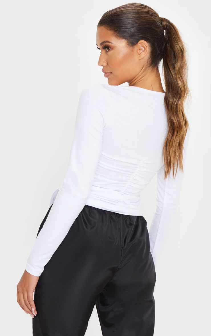 White Ruched Fitted Top 2