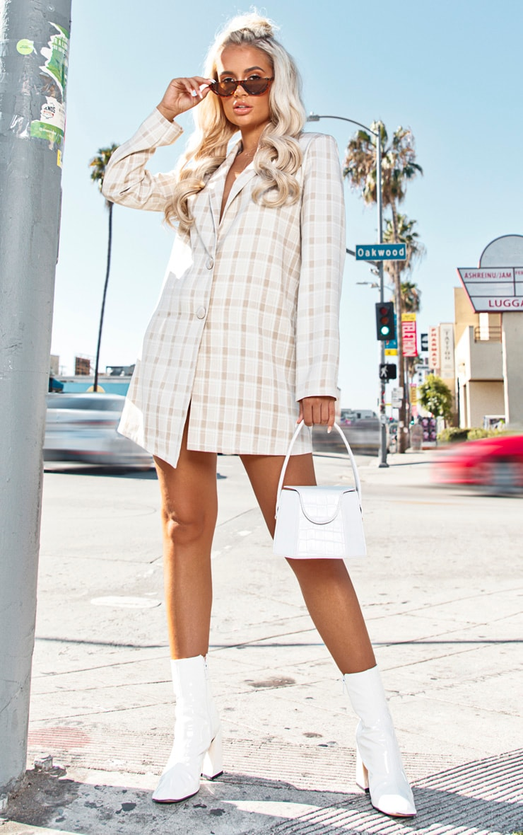 Beige Check Blazer Dress