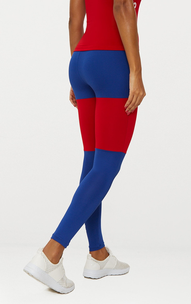 Cobalt Colour Block Sports Leggings 5