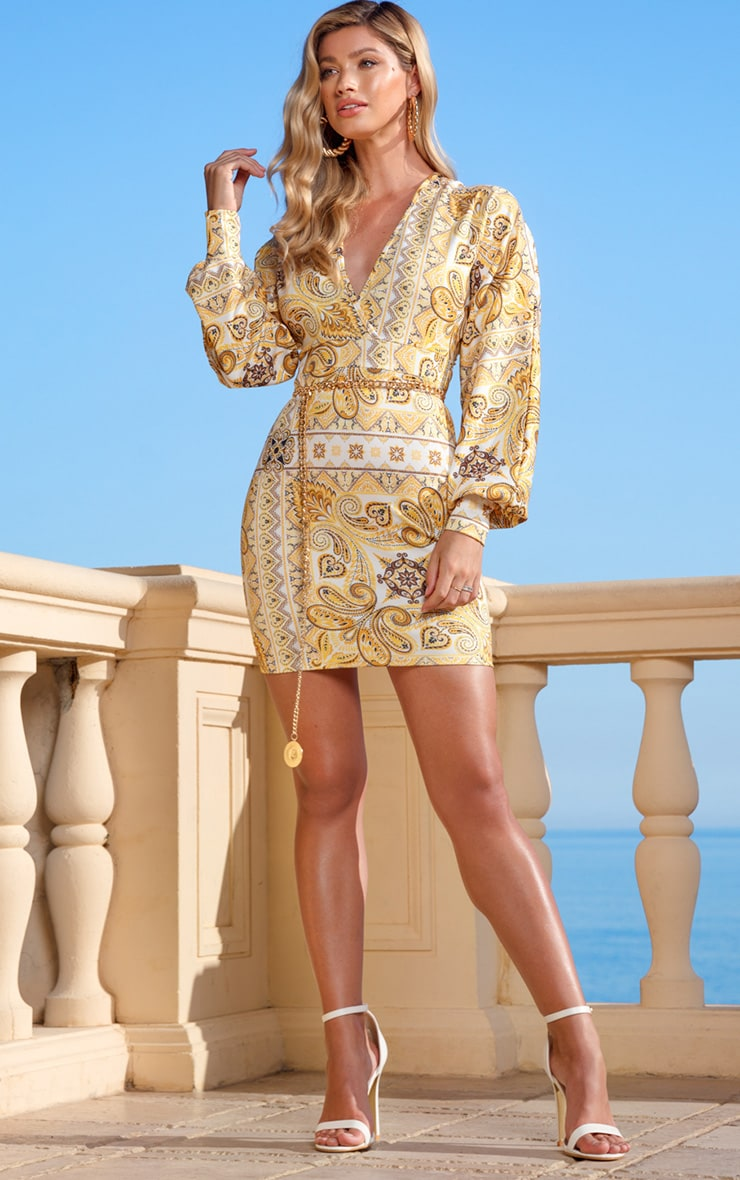Yellow Tile Print Puff Sleeve Bodycon Dress 1