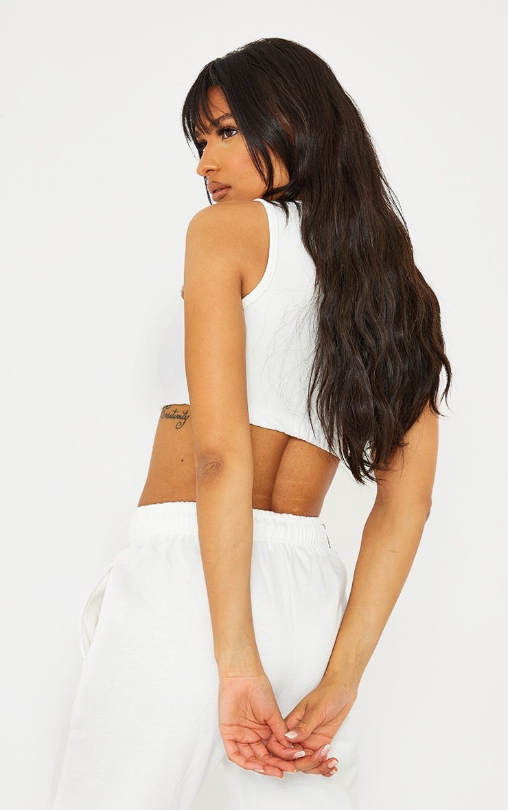 PRETTYLITTLETHING Cream Cropped Embroidered Vest Top 2