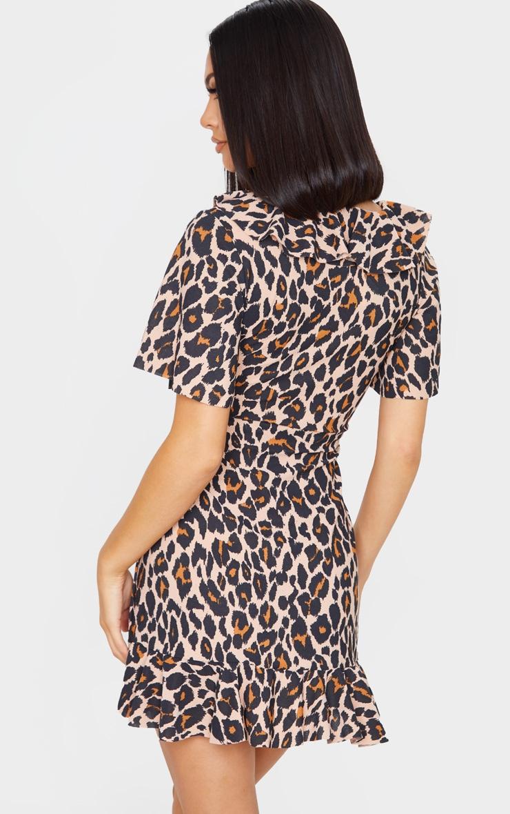 Brown Leopard Wrap Frill Detail Tea Dress 2