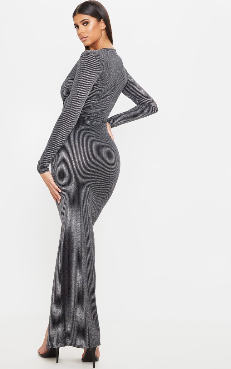 Silver Striped Glitter Long Sleeve Maxi Dress 2