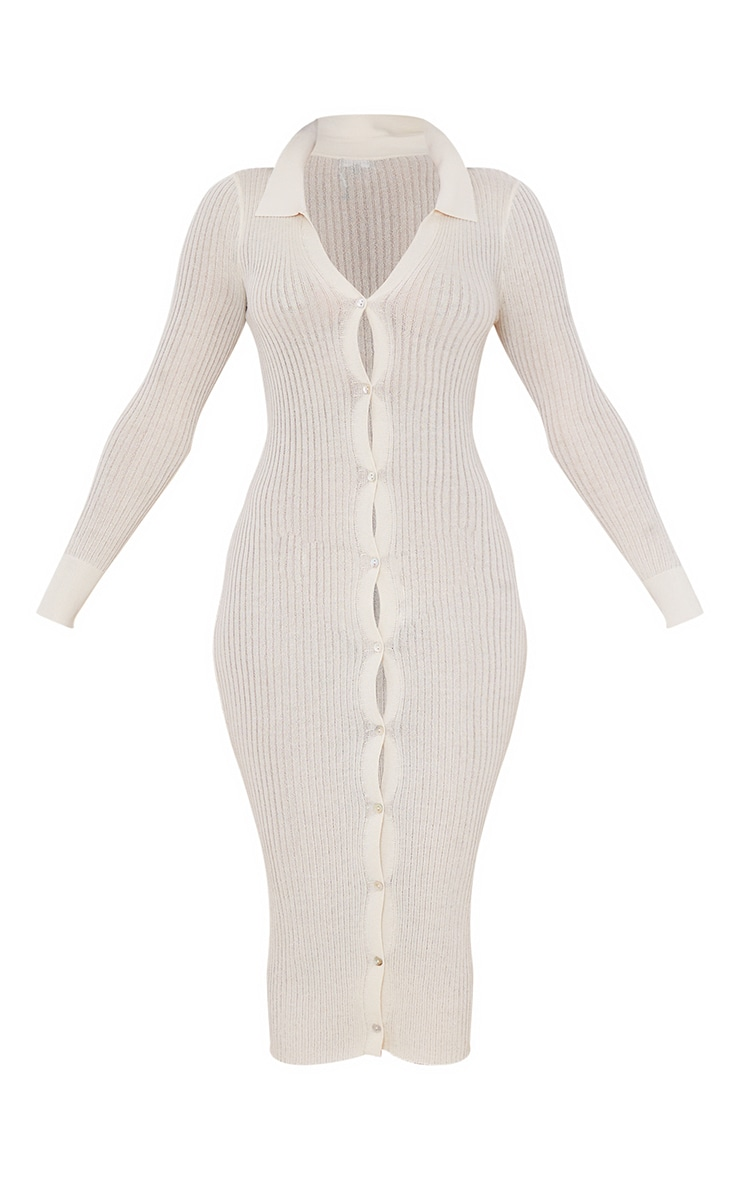 Cream Sheer Knit Button Up Midaxi Dress 5