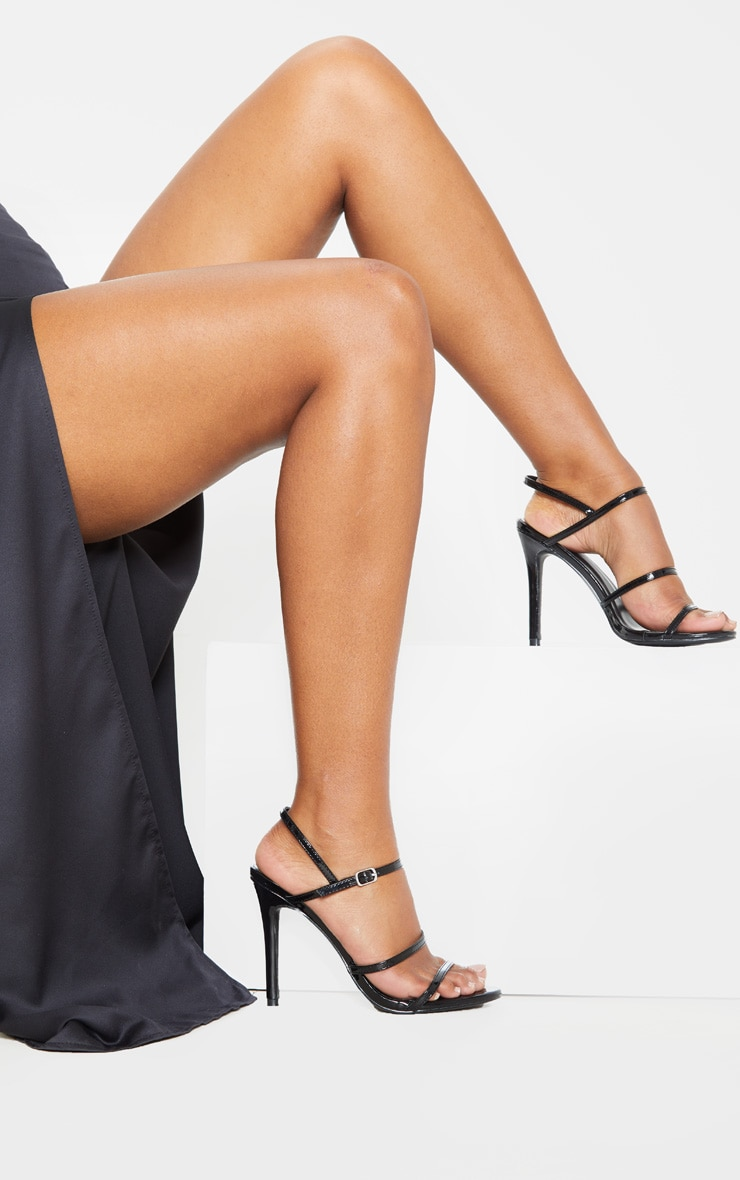 Black Wide Fit Triple Strap Slingback Barely There Sandal 2
