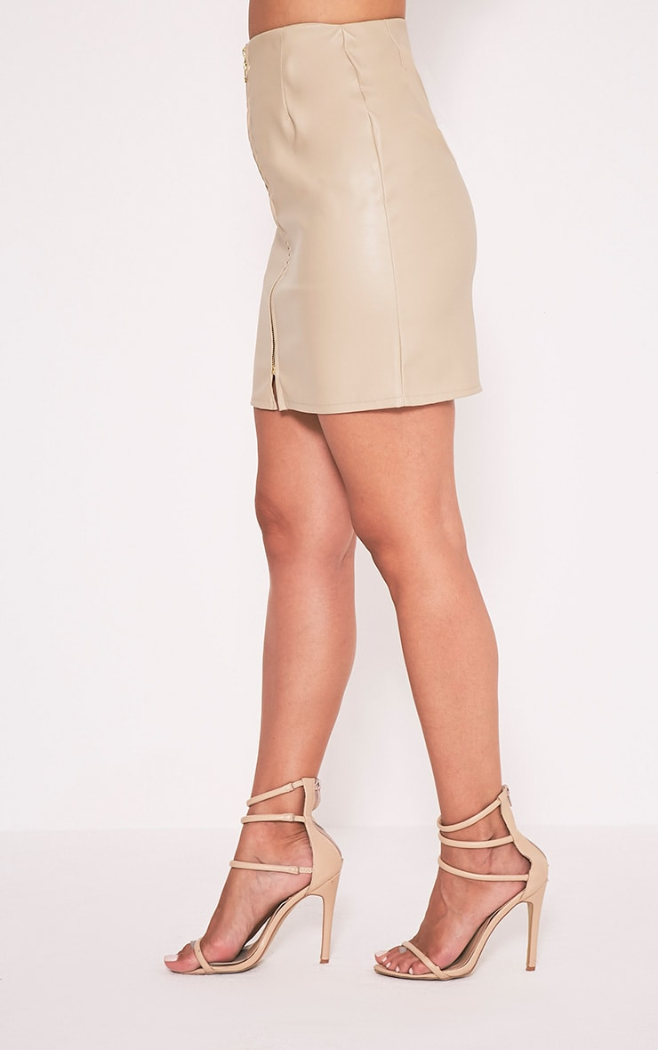 Chandra Stone Faux Leather Zip Front Mini Skirt 4