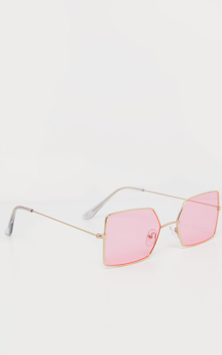Pink Retro Square Sunglasses 3