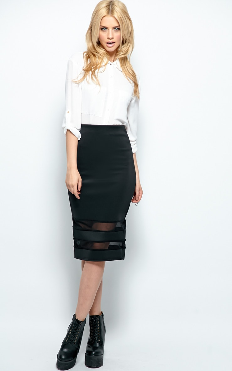 Cassandra Black Mesh Panel Midi Skirt 1