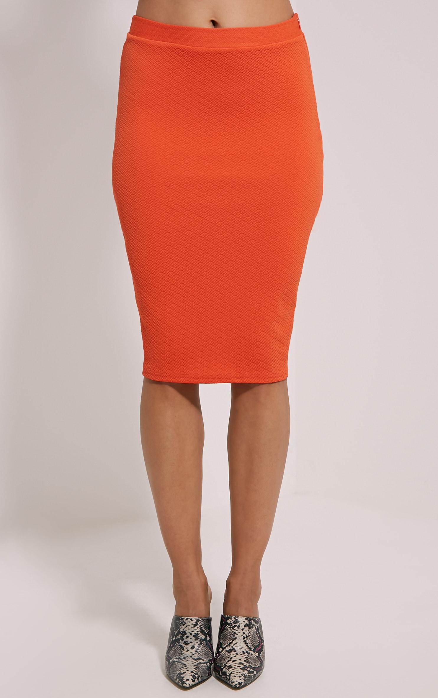 Beulah Orange Textured Midi Skirt 2