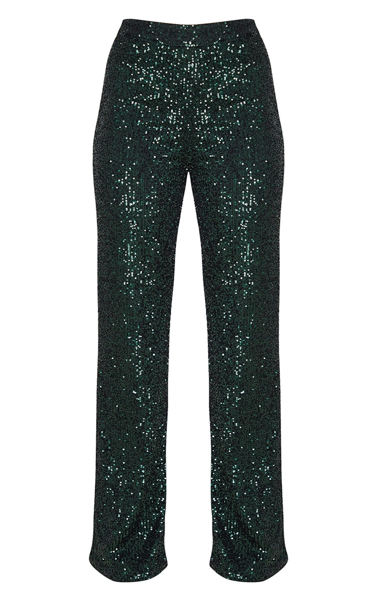 Emerald Green Sequin Wide Leg Trousers 3