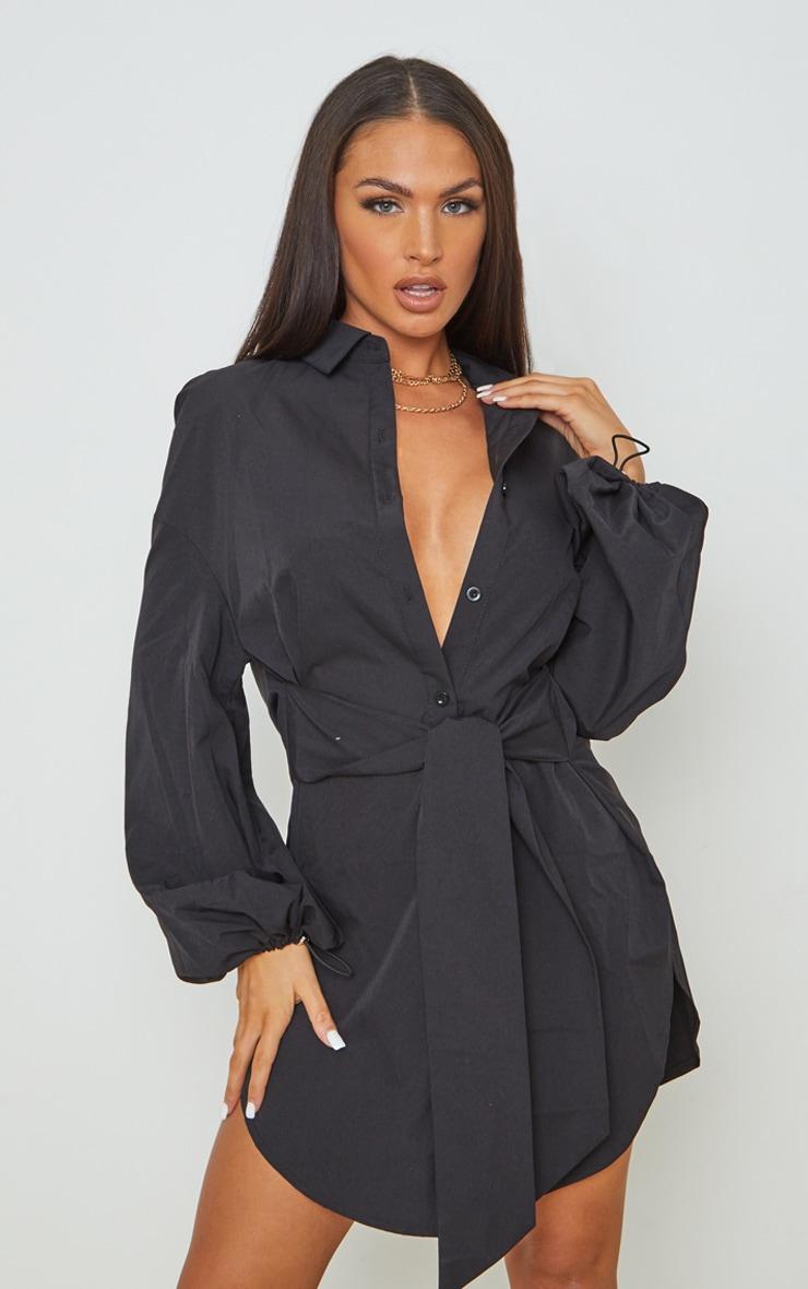 Black Tie Waist Elasticated Puff Cuff Shirt Dress 1