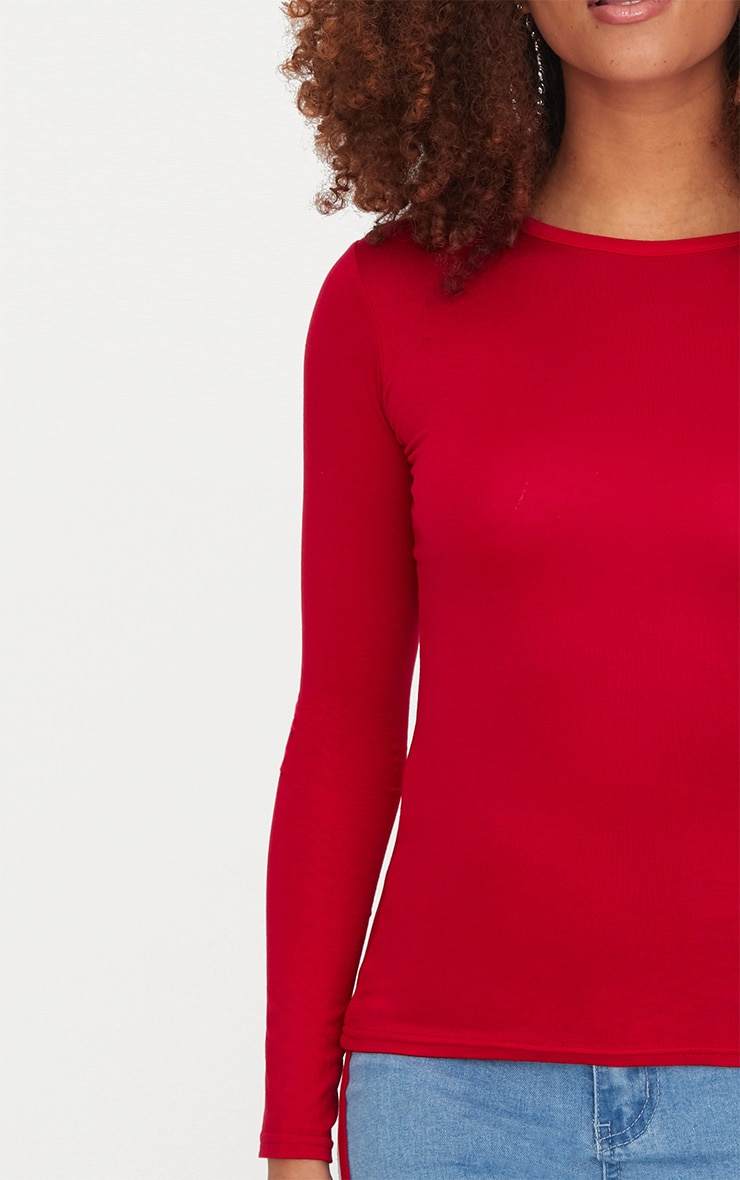 Basic Red Long sleeve Fitted T Shirt 5
