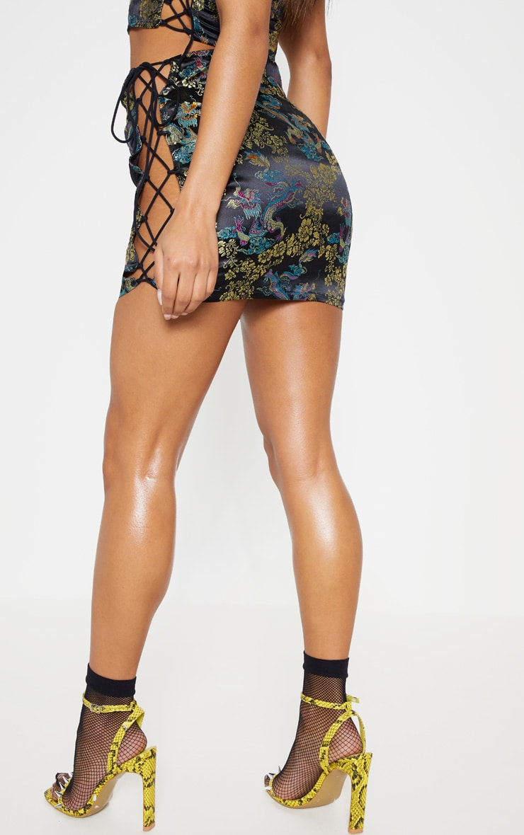 Black Oriental Jacquard Strappy Mini Skirt 5