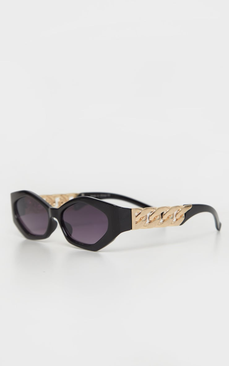 Black Chunky Chain Relaxed Hexagon Sunglasses   3