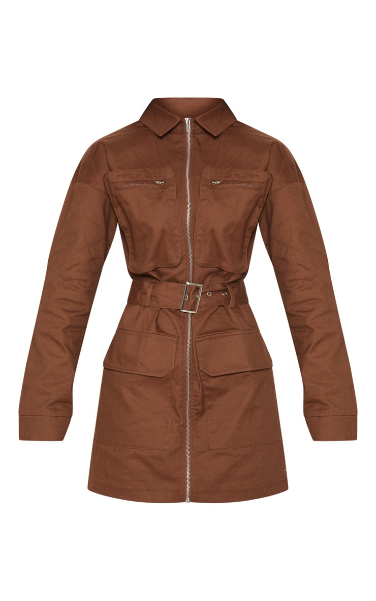 Chocolate Belted Pocket Front Utility Shift Dress 4
