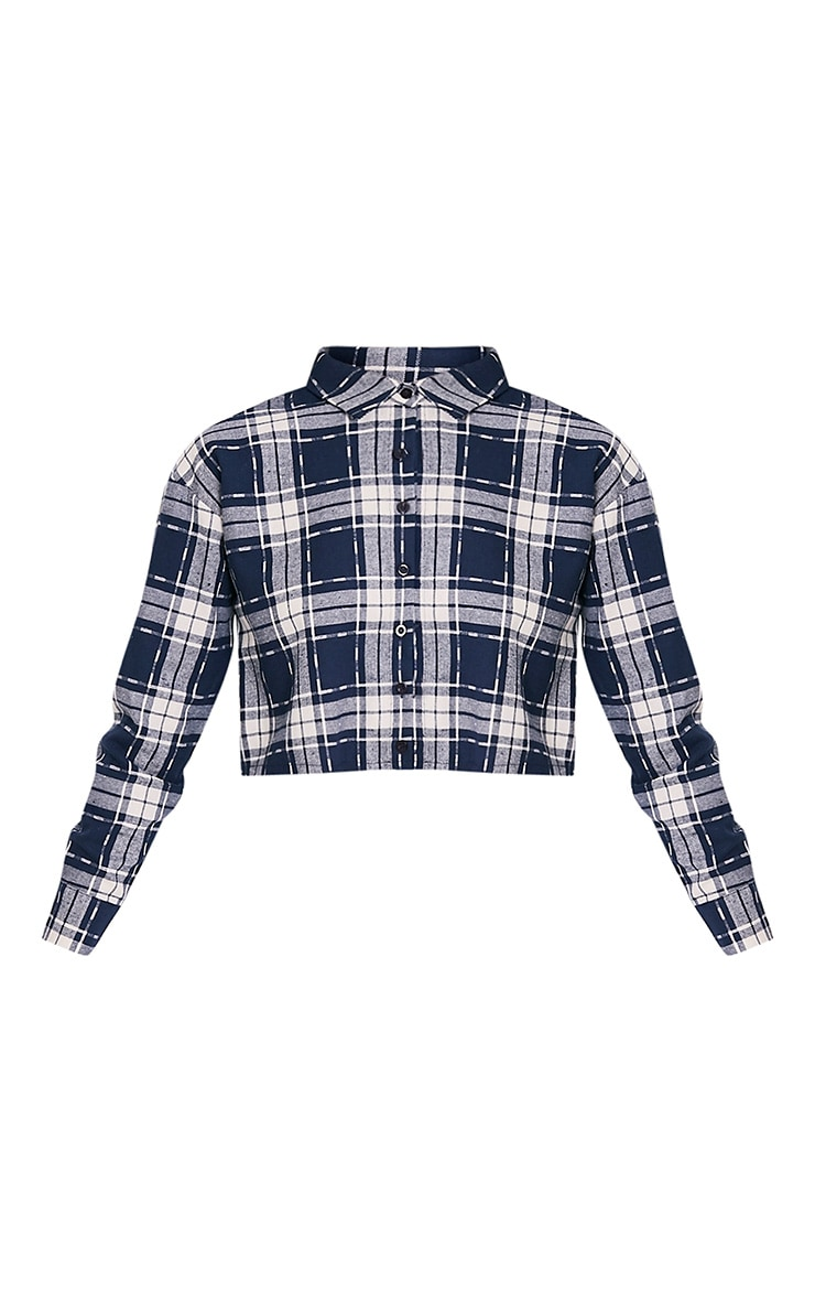 Giselle Navy Checked Raw Hem Cropped Shirt 3