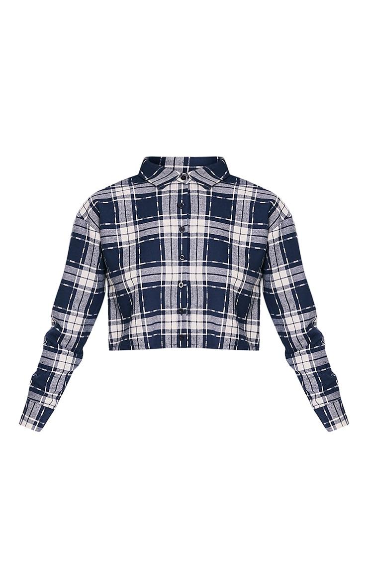 Giselle chemise courte à ourlet brut bleu marine 3