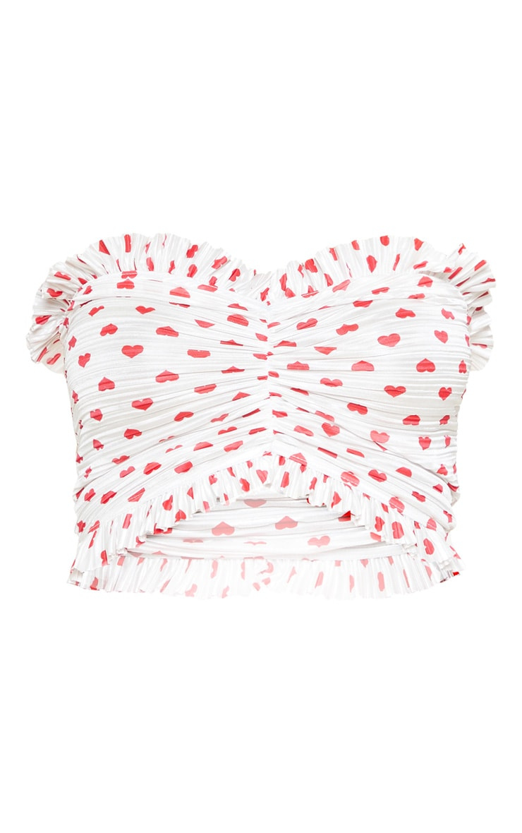 White Heart Printed Pleated Bandeau Crop Top 3
