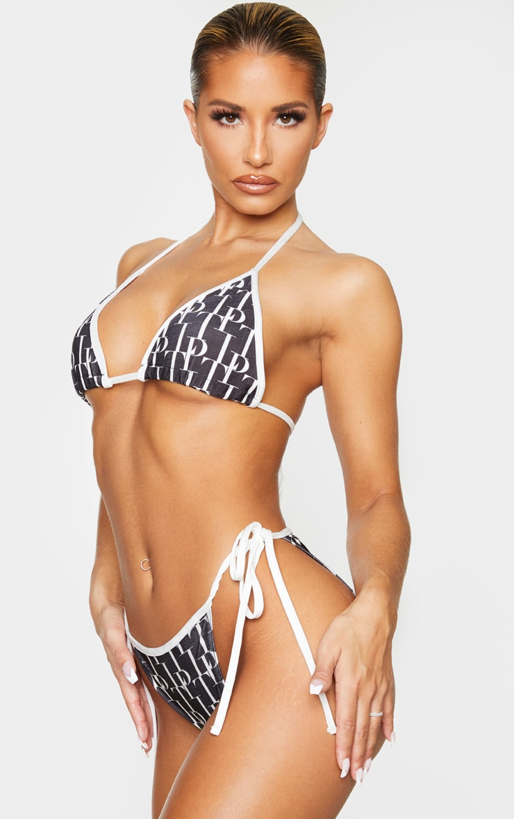 PRETTYLITTLETHING Monochrome Tie Side Bikini Bottoms 2