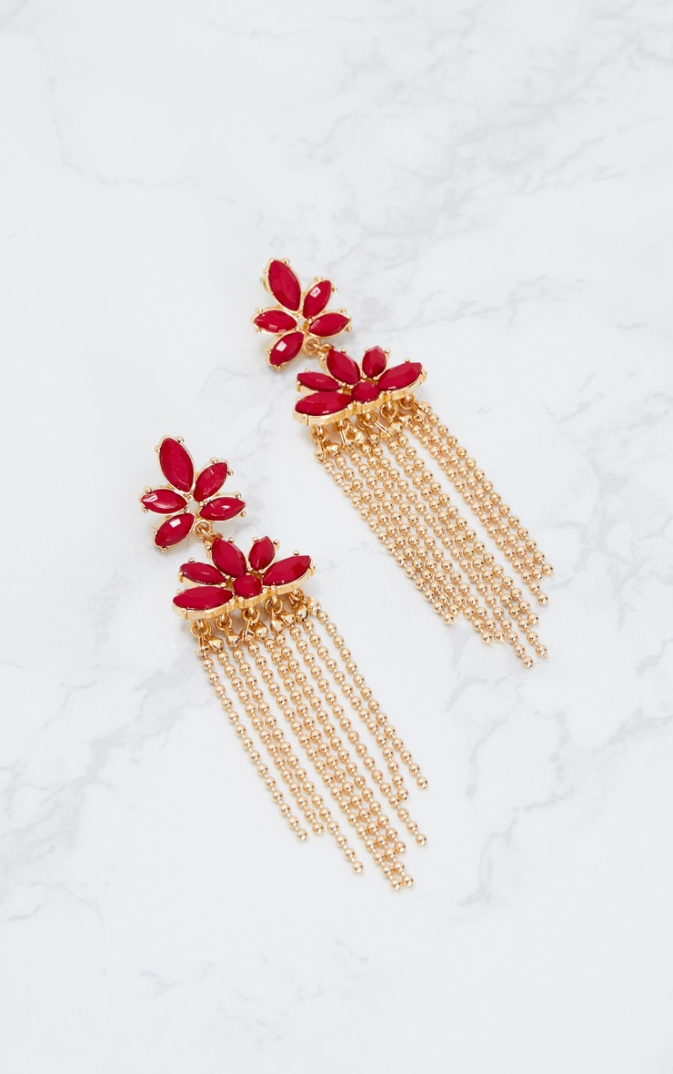Red Floral Beaded Tassel Earrings 4