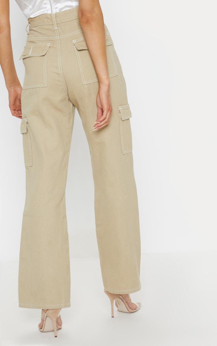 Beige Contrast Stitch Wide Leg Cargo Jeans 4