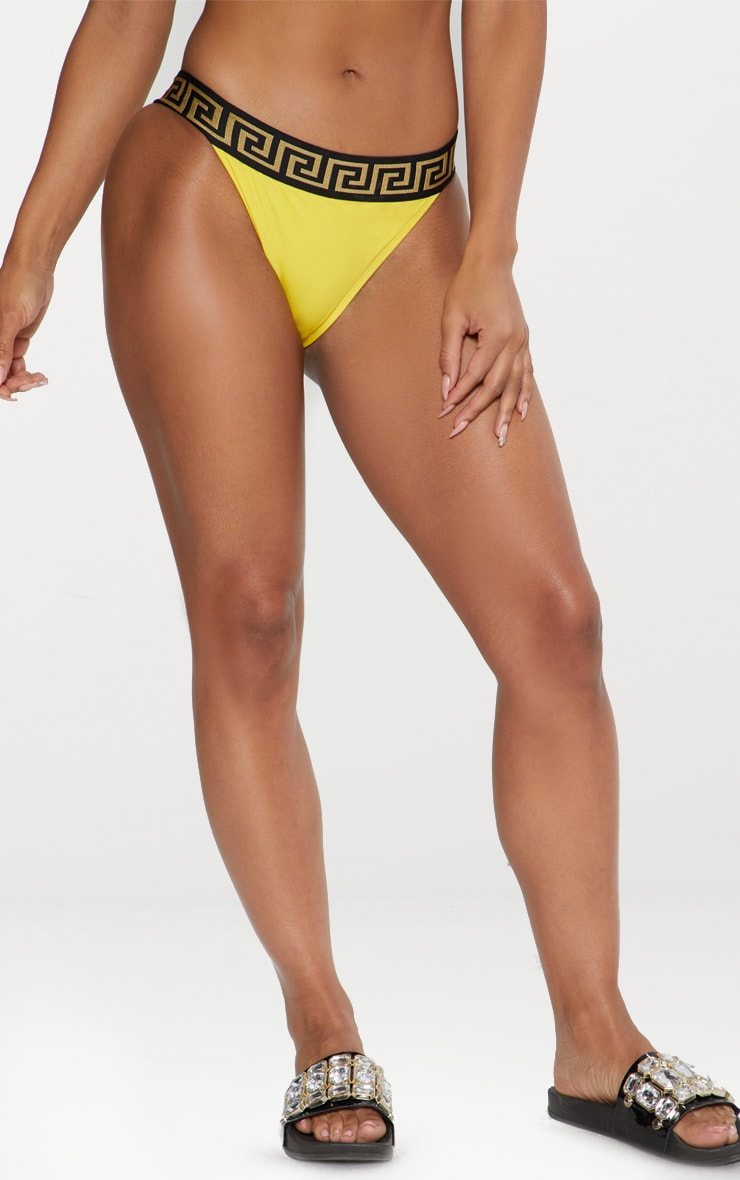 Yellow Greek Key High Waisted Bikini Bottom 3
