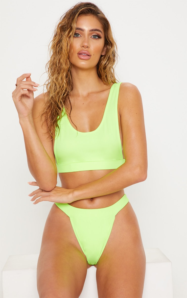 Lime Side Boob Scoop Neck Bikini Top 1