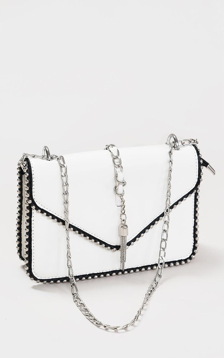 White PU Chain And Tassel Trim Cross Body Bag 1