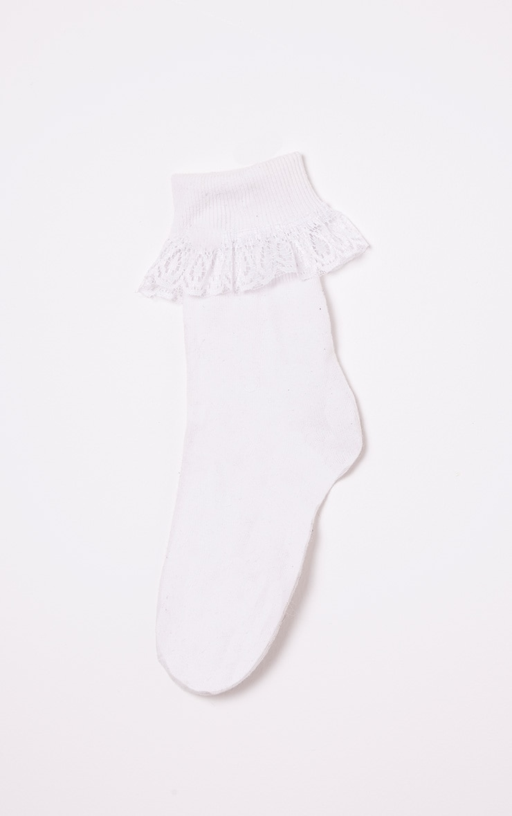Kimber White Lace Trim Ankle Sock 5