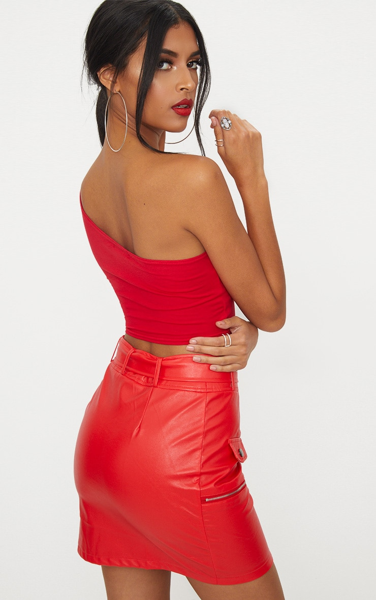 Basic Red Jersey One Shoulder Crop Top 2