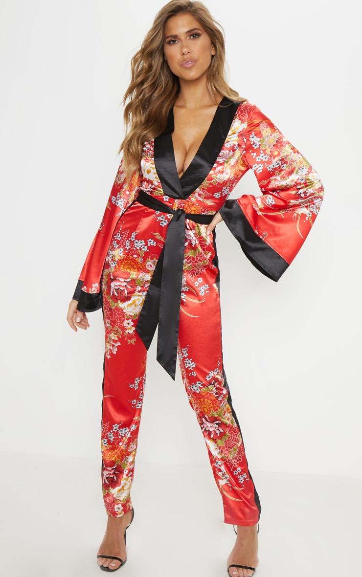 Red Oriental Print Plunge Tie Waist Jumpsuit 1