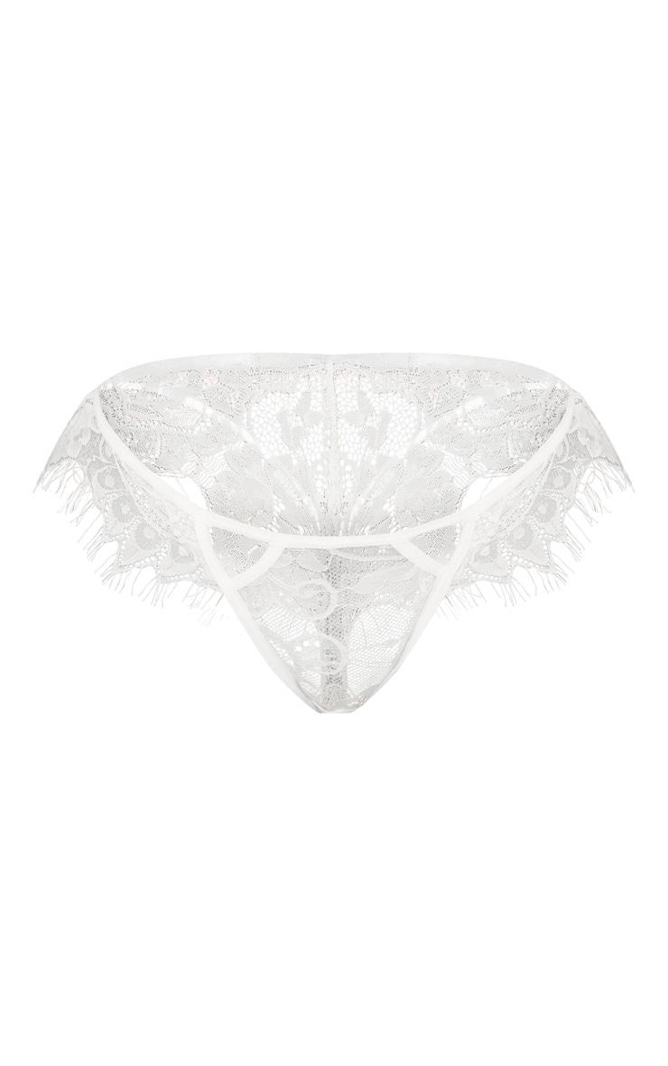 White Eyelash Lace Detail Cut Out Thong 2