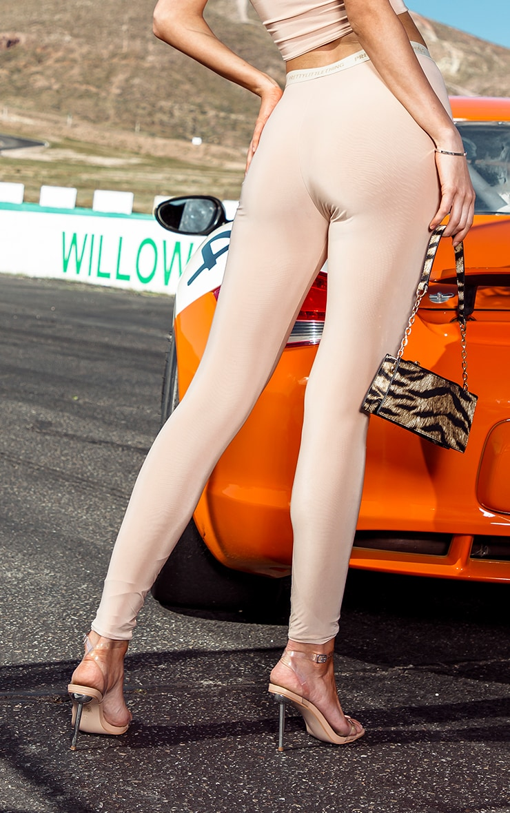 PRETTYLITTLETHING Tall Nude High Waisted Slinky Leggings 3