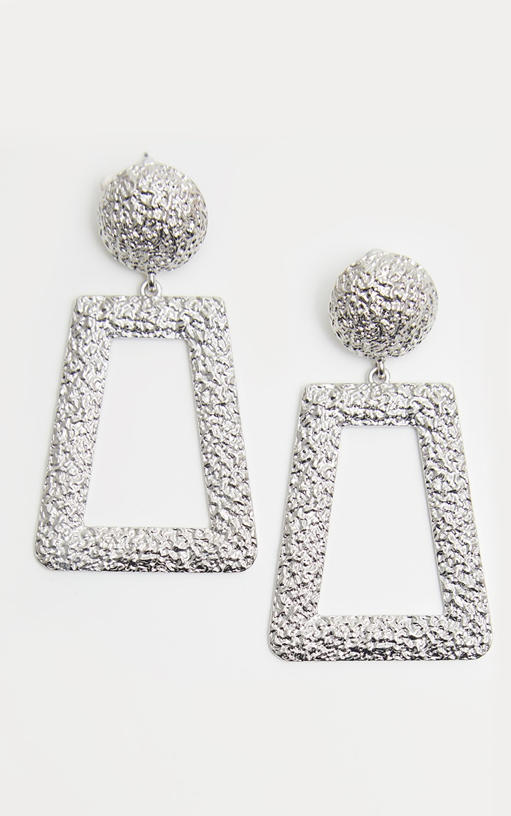 Silver Textured Oversized Square Drop Door Knocker Earrings 2