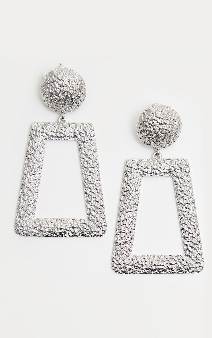 Silver Textured Oversized Square Drop Door Knocker Earrings image 2