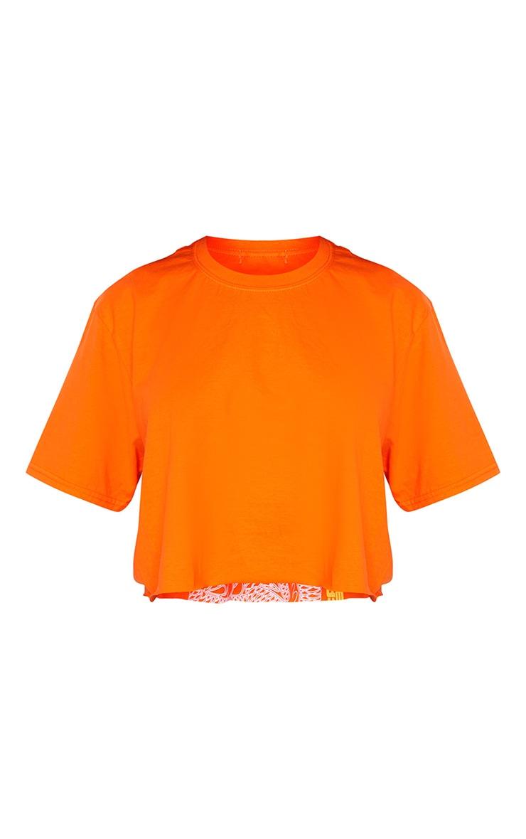 Orange Chaos Dragon Printed Cropped T Shirt 5