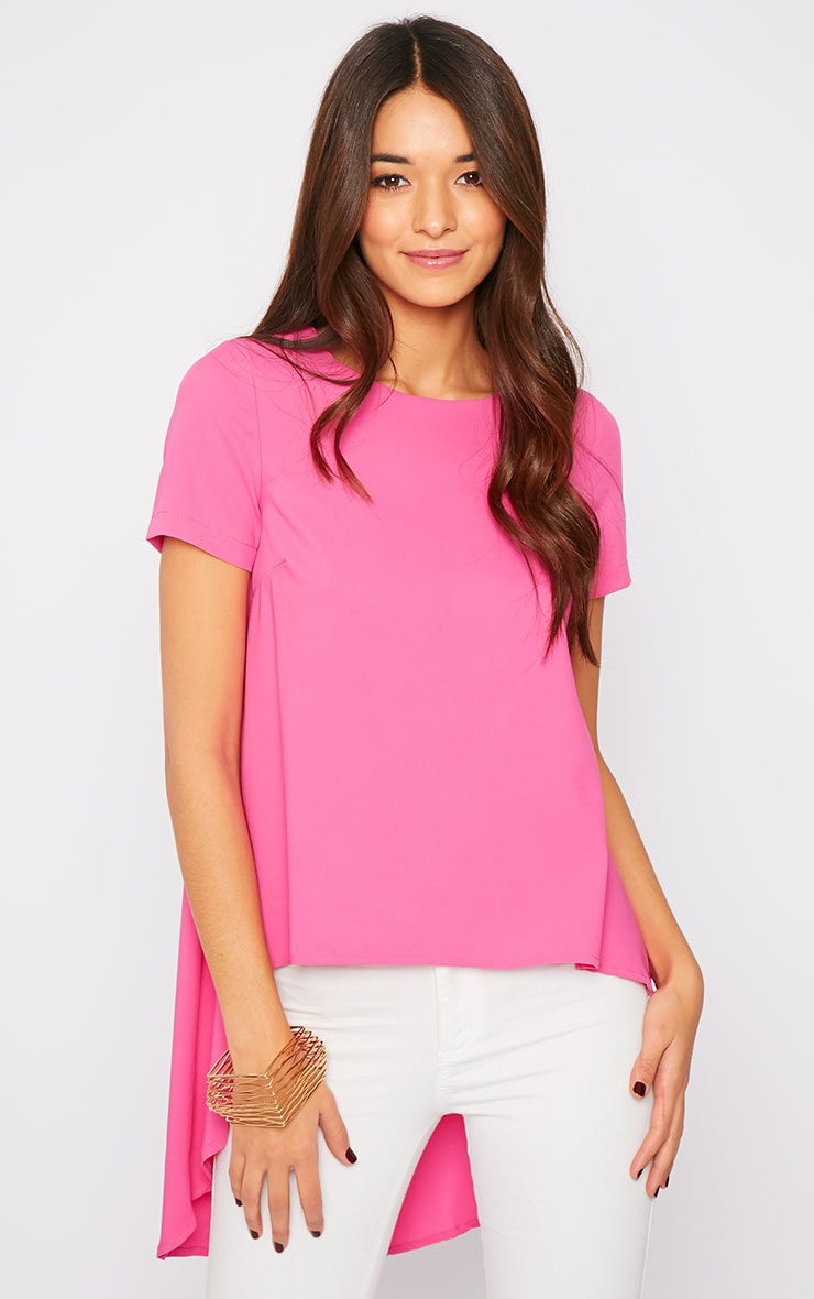 Jada Pink Drop Hem Top  1