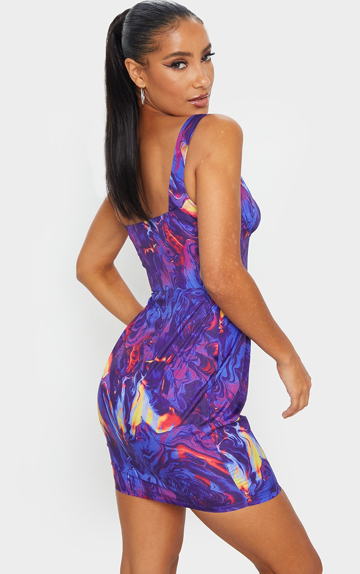 Multi Abstract Print Sleeveless Zip Front Bodycon Dress 2