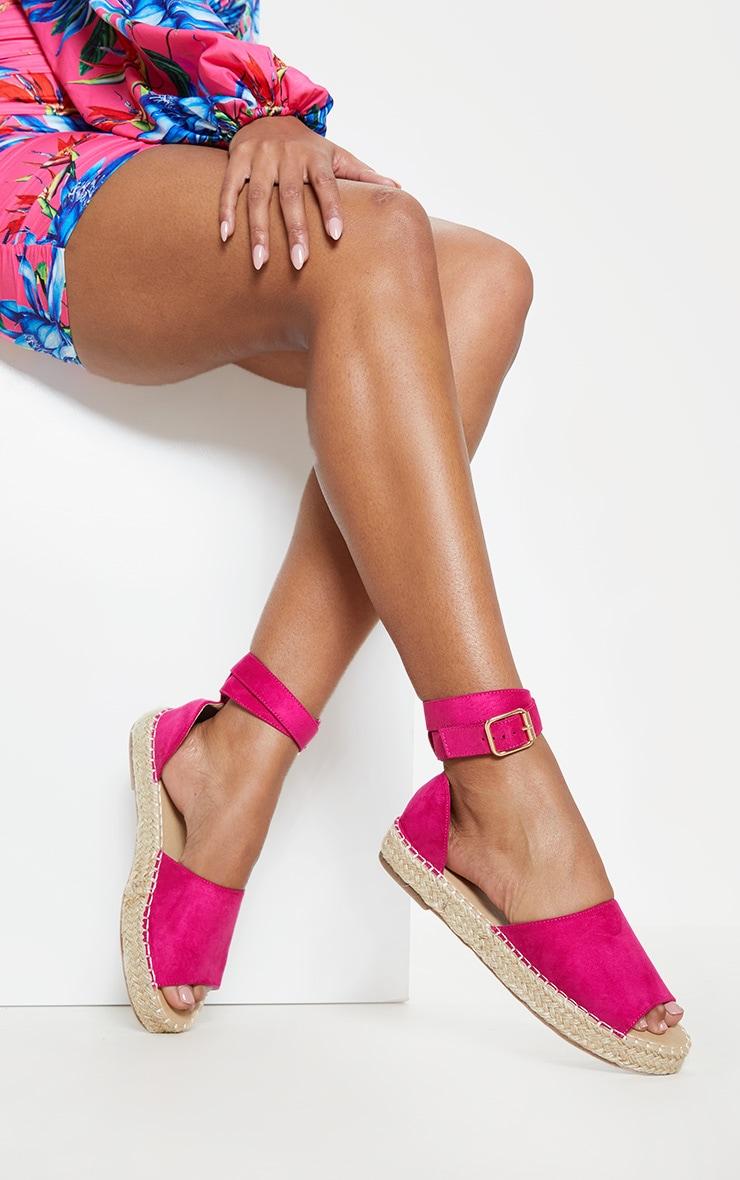Fuchsia Peep Toe Espadrille Flat Sandal 1