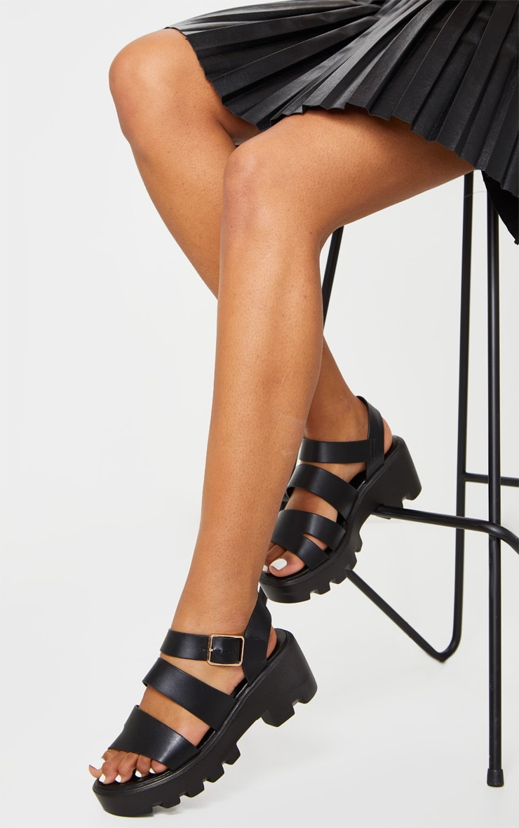 Black Triple Strap Chunky Sandals 2