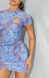 Blue Marble Print Ruched Short Sleeve Bodycon Dress 4