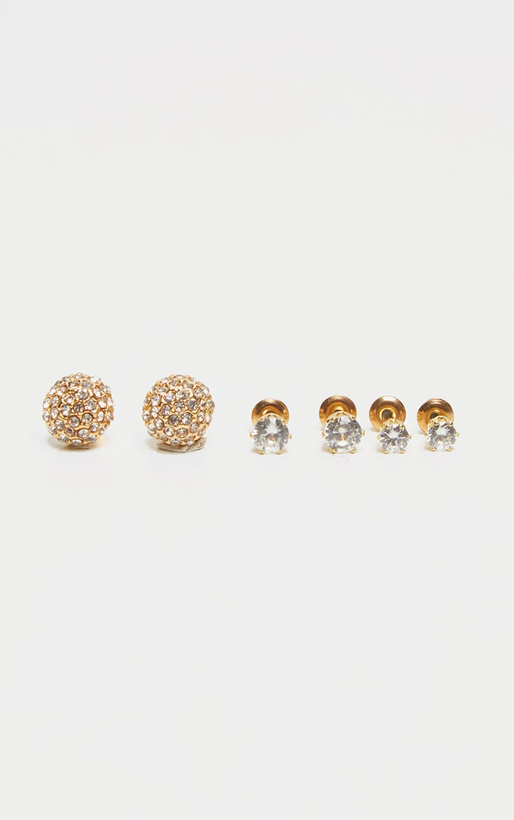 Gold Diamante Assorted Three Pack Earrings 1