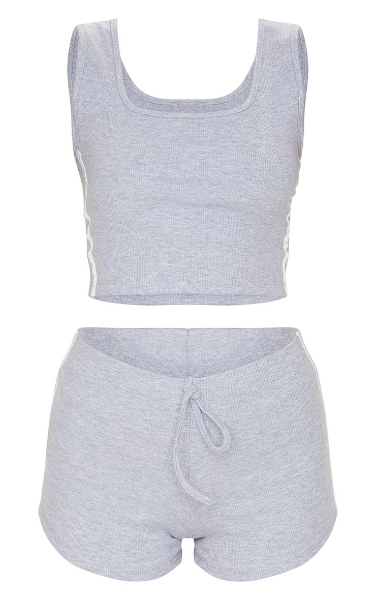 Grey Double Side Stripe Crop Top & Hot Pants Set 5
