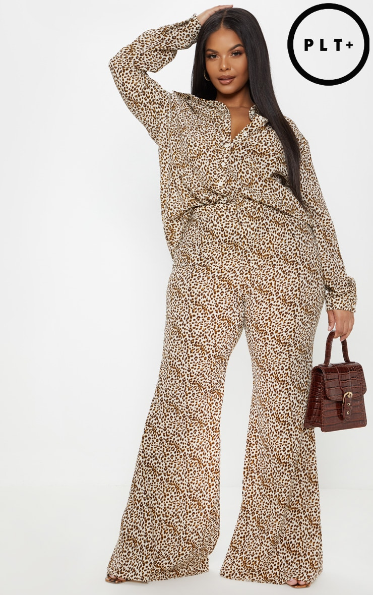 Plus Cream Leopard Print Satin High Waisted Flare Leg Trouser  1