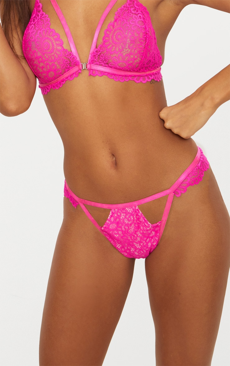 Hot Pink Daisy Lace Cut Out Front Thong