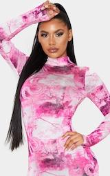 Hot Pink Dragon Print Slinky High Neck Long Sleeve Bodycon Dress 5