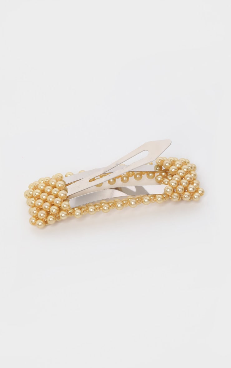 Gold Pearl Rectangle Large Hair Clip    3