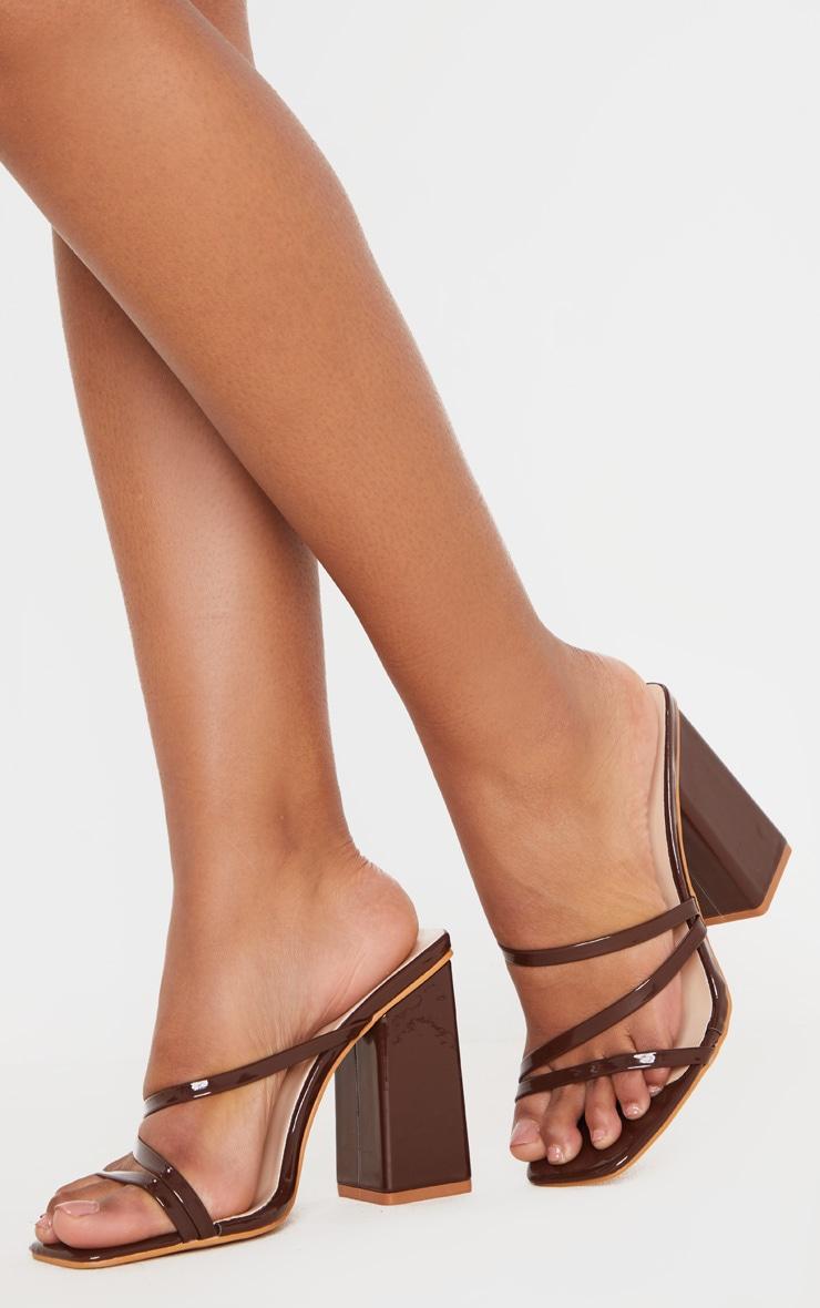 Chocolate Block Heel Strappy Mule Sandal 2