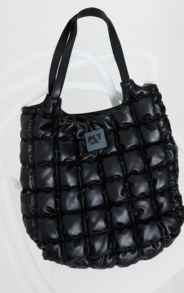 PRETTYLITTLETHING Black Padded Tote Bag 2