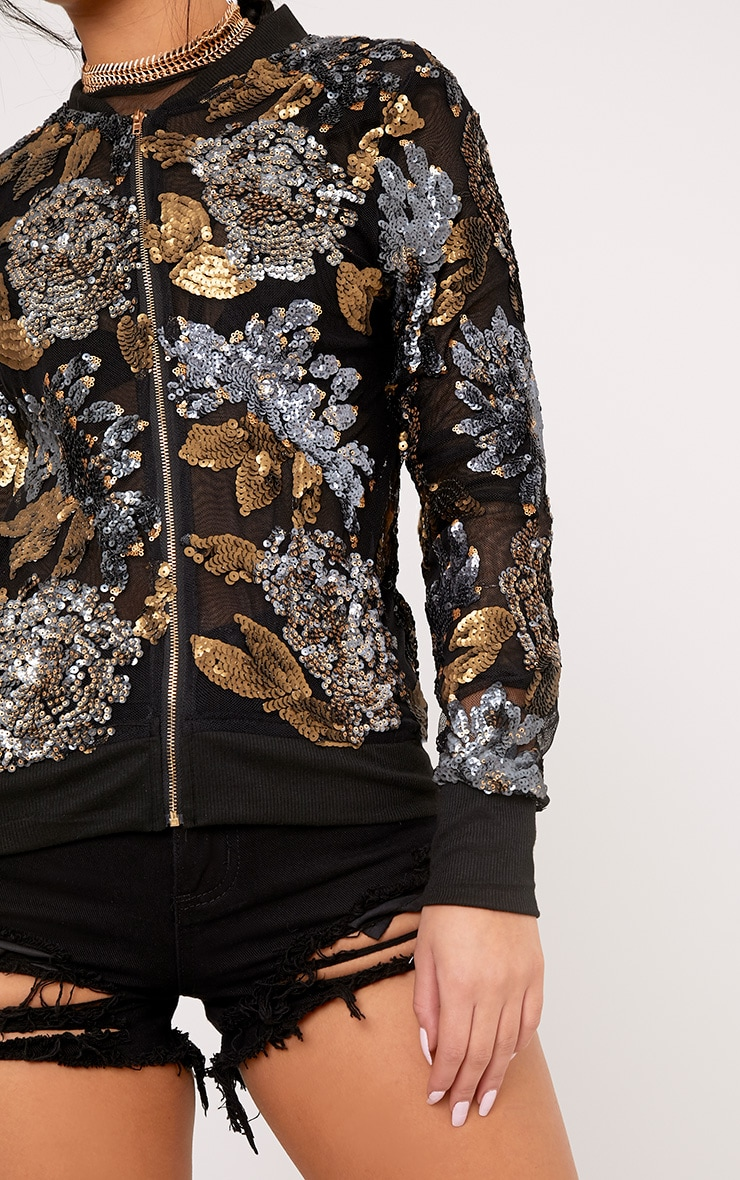 Carah Black Mesh Sequin Embellished Bomber Jacket 5
